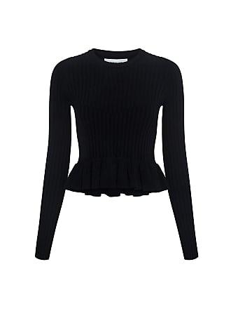 Derek Lam Ruffle Hem Sweater Black