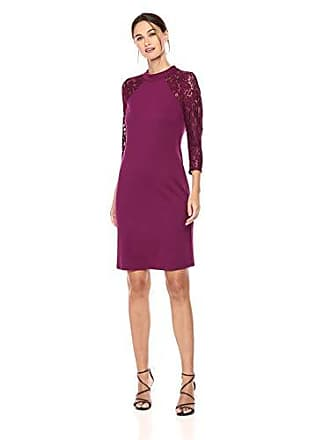 Nine West Womens Mockneck Lace Ponte Combo Sheath Dress, Plum, 8
