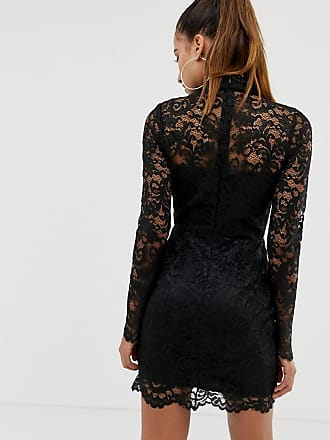 05810f7377 Missguided high neck lace mini dress in black - Black