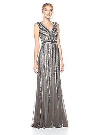 Adrianna Papell Womens Beaded Long Dress, Lead, 4