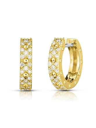 82b48aab5c0006 Roberto Coin Pois Moi Luna 18k Gold Diamond Hoop Earrings