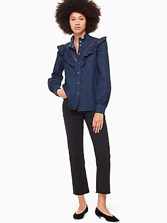 Kate Spade New York Chambray Ruffle Shirt, Dark Wash - Size L