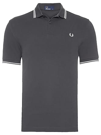 Fred Perry POLO MASCULINA TWIN TIPPED - CINZA