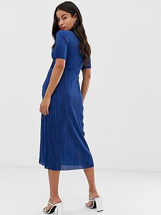 6075acf1a1f Asos Maternity ASOS DESIGN Maternity plisse tea dress - Blue