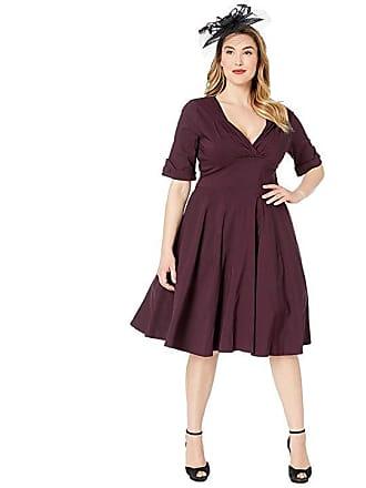 4bd8e006218 Unique Vintage Plus Size 1950s Delores Swing Dress with Sleeves (Eggplant  Purple) Womens Dress