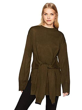 J.O.A. JOA Womens Tie Front High Slit Sweater, Olive, Small