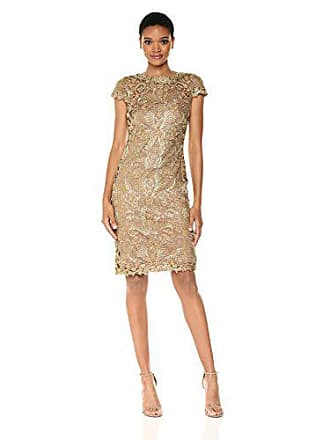 5cbe7991 Tadashi Shoji Womens Corded Lace Cap-Sleeve Dress, Gold, 2. USD $210.42