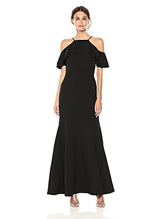 Nicole Miller Womens Ruffle Cold Shoulder Gown, Black, 6