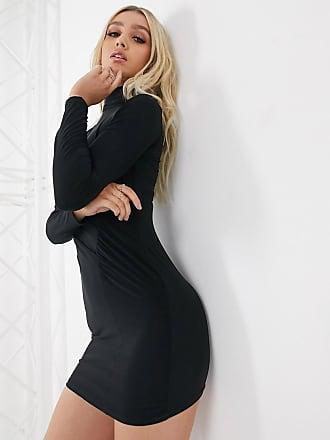 Missguided Soepelvallende hoogsluitende mini-jurk met drapering-Zwart