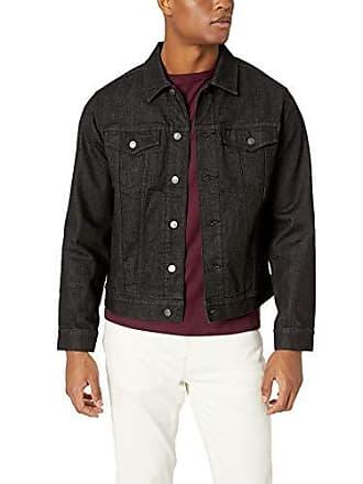 Amazon Essentials Mens Denim Trucker Jacket, Black Wash, Large