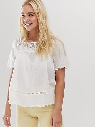 Only broderie square neck top - Cream