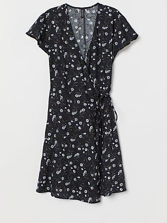 H&M Patterned Wrap-front Dress - Black