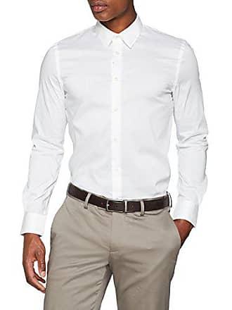 9ddc599c3416 Sisley Shirt, Chemise Business coupe droite Uni Col Chemise Classique  Manches Longues Homme, Blanc