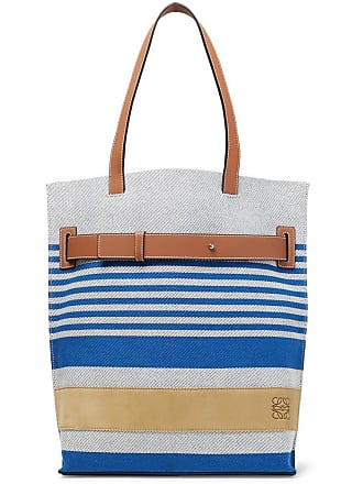 e3719dfce4f Loewe Leather And Suede-trimmed Striped Canvas Tote Bag - Blue