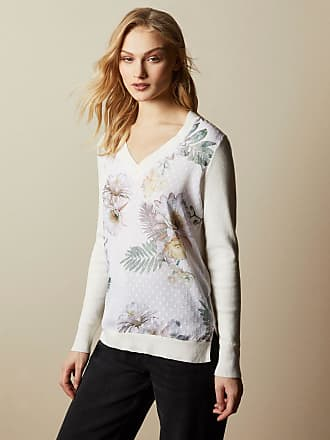 Ted Baker Woodland V Neck Jumper in Ivory KAYLAAA, Womens Clothing