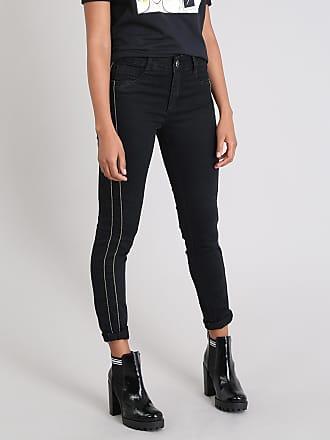 Sawary Calça Jeans Feminina Sawary Cigarrete com Brilho lateral Preta
