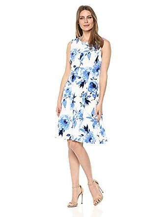 Kasper Womens Painted Florals Scuba Crepe Dress, Blue Horizon Multi, 8