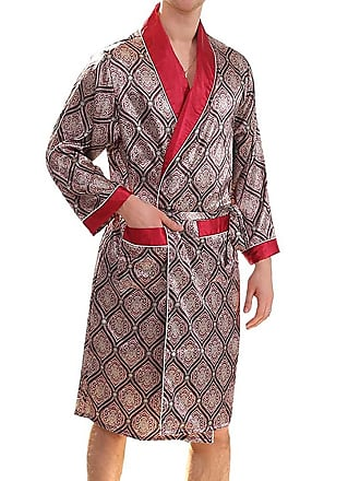 55e89375d455 Huateng Premium Mens Silky Dressing Gown -Summer Knee Length Bathrobe Thin  Pajamas Long-Sleeved