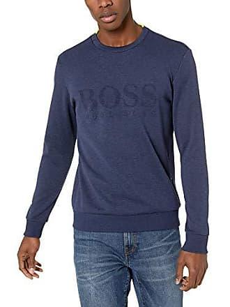 7697f001b HUGO BOSS BOSS Green Mens Salbo Long Sleeve Crewneck Sweatshirt, Navy, XXXL
