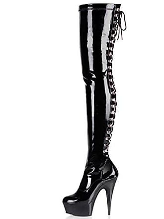 dd5e7c1c0f5d00 Higher-Heels PleaserUSA Overknee-Stiefel Delight-3063 Lack schwarz Gr. 43