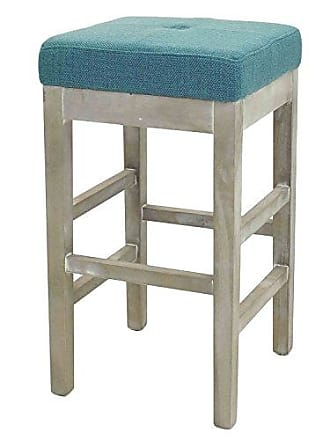 New Pacific Direct Valencia Backless Fabric Counter Stool 27,Distressed Gray Legs,Aegean Green