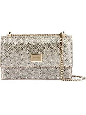 Jimmy Choo London Leni Glittered Leather Shoulder Bag - Silver