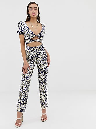 556847864c Lioness off shoulder jumpsuit with double tie front in geometric print -  Multi