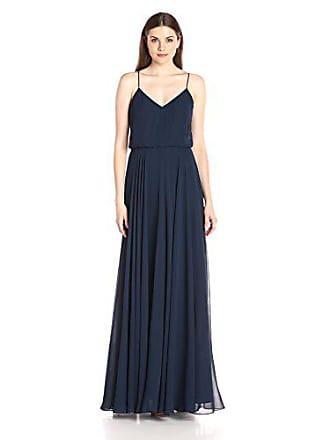b3e1d6c772b7 Jenny Yoo Womens Inesse thin strap V Neck long chiffon Gown, Navy, 10