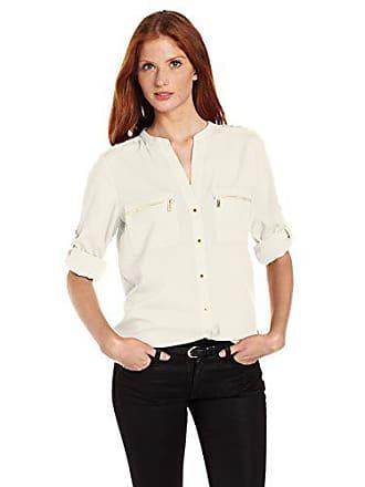 Calvin Klein Womens Modern Essential Zipper Button Front Blouse,Birch,X-Large