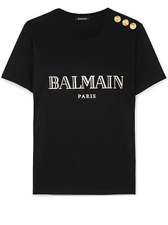 1dd06b4e82b Balmain T-shirt En Jersey De Coton Imprimé À Boutons - Noir