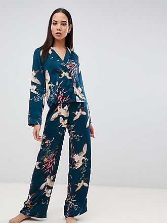 Asos Tall ASOS DESIGN Tall - Ensemble de pyjama avec pantalon et chemise  croisée à imprimé 2f9ed908ea9