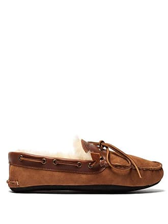 Quoddy Fireside Sheepskin Moccasins - Mens - Brown