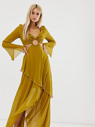 Asos Tall ASOS DESIGN Tall maxi dress with long sleeve and circle trim detail-Green