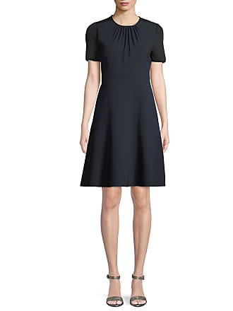 130f52307d Elie Tahari Caliana Ruched Jewel-Neck Short-Sleeve Fit-and-Flare Crepe