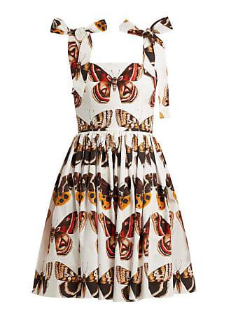 3898c66f58cc Dolce   Gabbana Butterfly Print Cotton Poplin Mini Dress - Womens - Brown  White