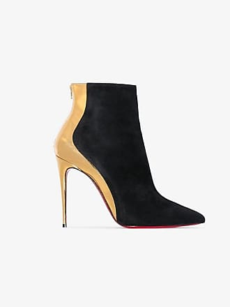 76ac89be879 Christian Louboutin black and gold metallic delicotte 100 suede leather  boots