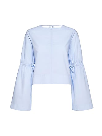 Derek Lam Bell Sleeve Back Tie Cropped Shirt Light Blue