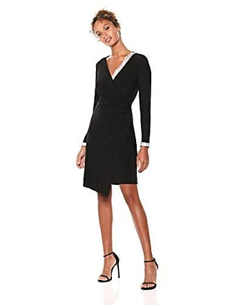 MSK Womens V-Neck Trim Wrap Knit Dress with Silver Cuff, Black, X-Large