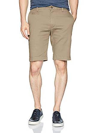 Louis Raphael Mens Slim Fit Flat Front Super Twill Stretch Cotton Short, Khaki, 30W