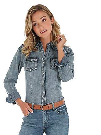 Wrangler Womens Retro Long Sleeve Western Fashion Shirt, Denim Stitch XL