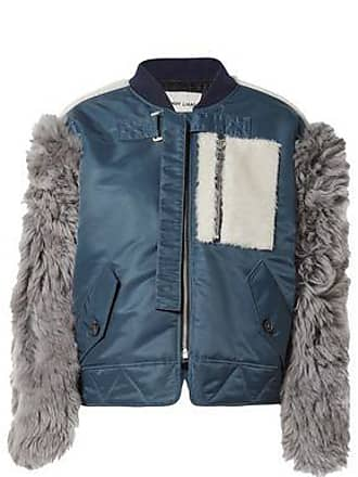 bfff82891a Sandy Liang Sandy Liang Woman Shell And Shearling-paneled Bomber Jacket  Storm Blue Size 40