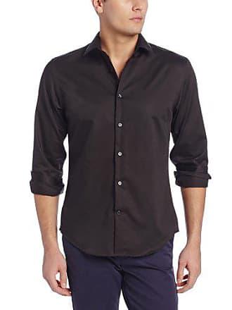 Perry Ellis Mens Long Sleeve Twill Noniron Medium Spread Collar Shirt, Black, Medium