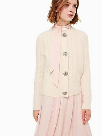 Kate Spade New York Embellished Cable Cardigan, French Cream - Size M
