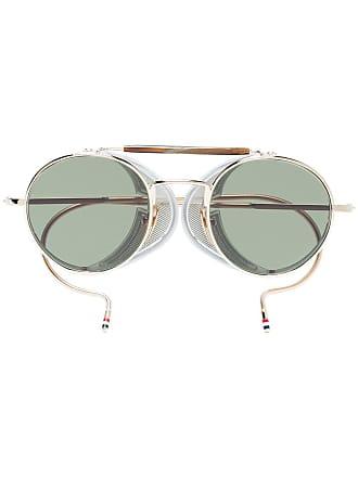 df4e16b113ed Thom Browne Multicoloured Round Frame Gold Plated Sunglasses - Metallic
