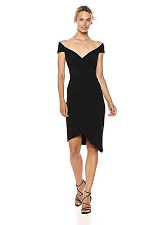 Nicole Miller Womens Structured Heavy Jersey Stefanie Dress, Black, 8