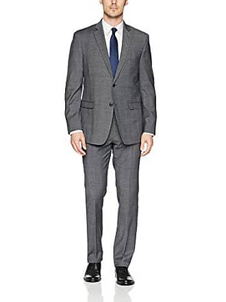 U.S.Polo Association Mens Wool Suit, Plaid Grey, 38 Short