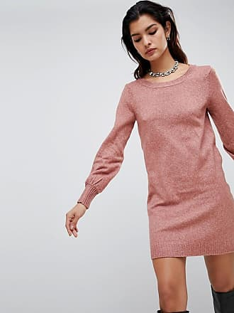 a0bef7730bf Vila boat neck knit mini jumper dress in pink