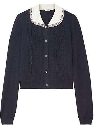 ec795060f60 Miu Miu Embellished Tulle-trimmed Cashmere And Silk-blend Cardigan -  Midnight blue