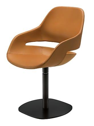 ZANOTTA Design Eva Swivel Chair Black Painted Steel & Pelle Naturale Leather