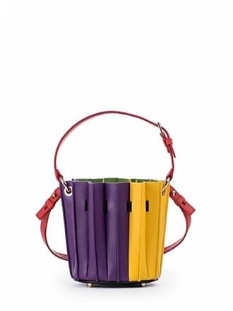 103def370f Sara Battaglia Secchiello mini Plissè in pelle bicolore viola e giallo
